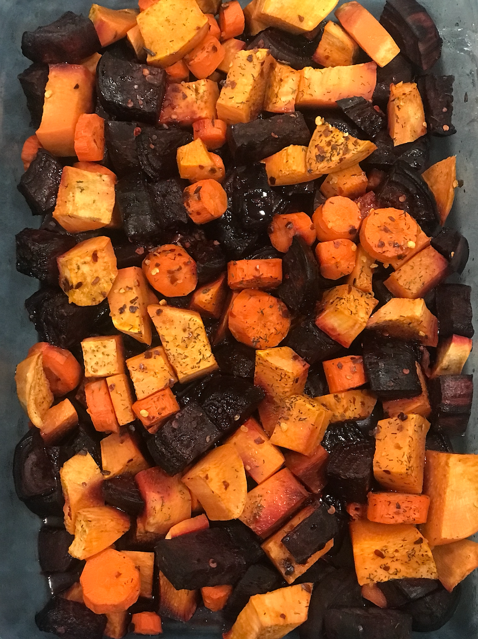 Roasted Beets, Sweet Potatoes, and Carrots