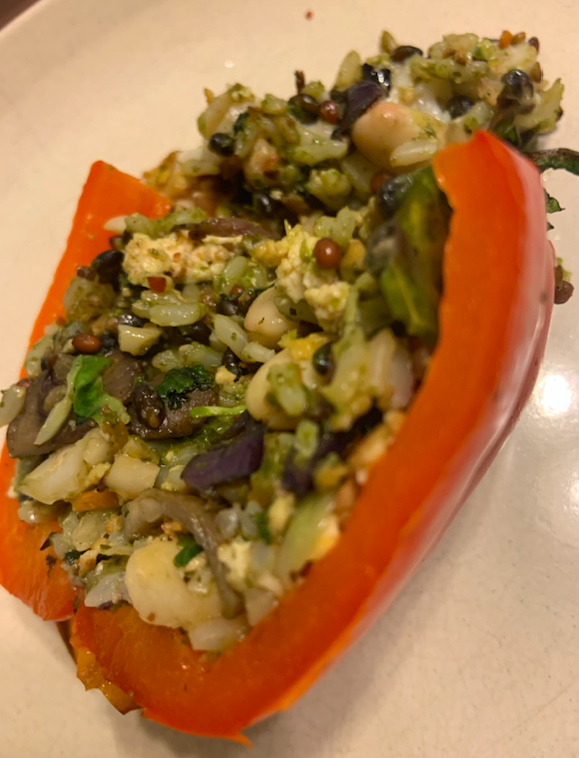 Stuffed Peppers with Pesto Rice